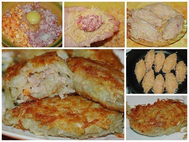 Картофельные зразы с фаршем в духовке рецепт с фото пошагово