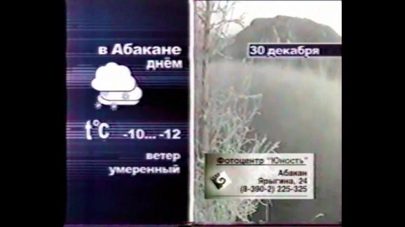 Вести-Хакасия (ГТРК Хакасия [г. Абакан], 30 декабря 2005) Прогноз погоды