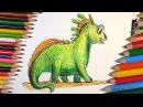 Как нарисовать Динозавра цветными карандашами / урок рисования для детей