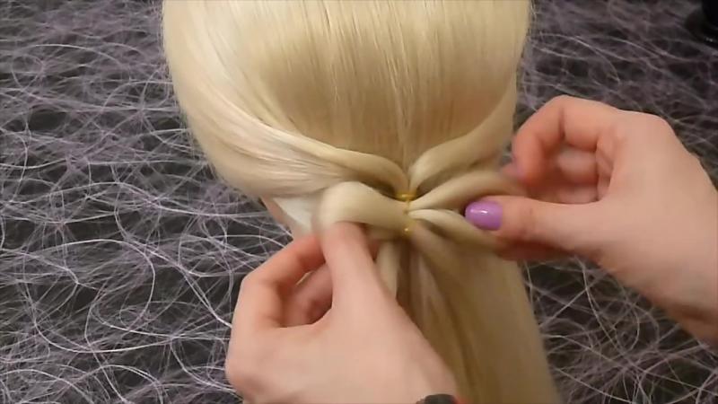 Делаем бант из волос