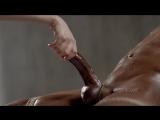Лёгкий БДСМ и массаж члена до оргазма (handjob, cumshot, bdsm, massage, orgasm, ebony, дрочит, мастурбация, кончил, сперма)