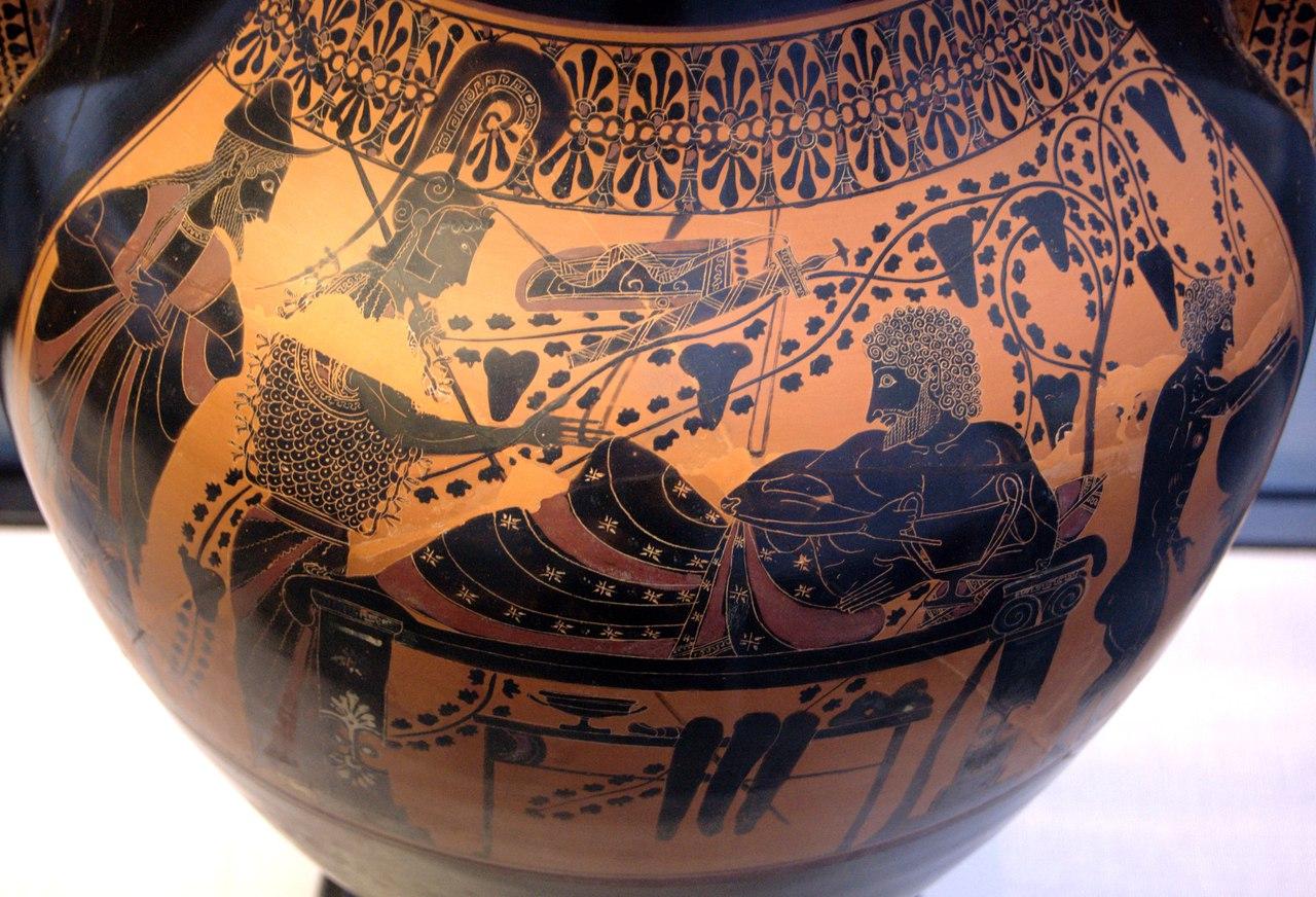Чернофигурное изображение на амфоре Андокида. Геракл и Афина. Государственное античное собрание. Мюнхен