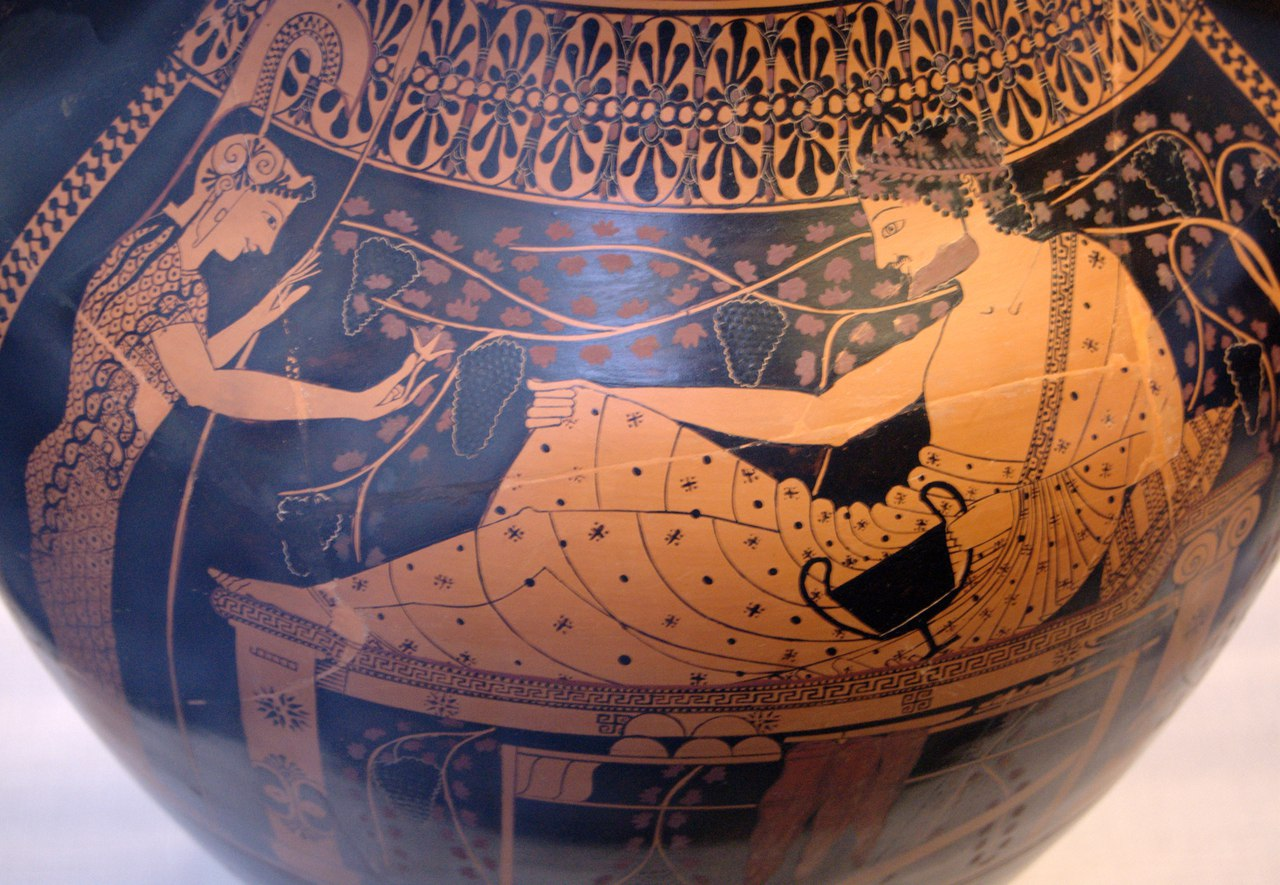 Краснофигурное изображение на амфоре Андокида. Геракл и Афина. Ок. 520-510 гг. до н. э. Государственное античное собрание. Мюнхен