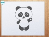How to draw panda bear (panda is waving its hand)