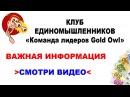 КЛУБ ЕДИНОМЫШЛЕННИКОВ Команда Лидеров Gold Owl - ВАЖНО! СМОТРЕТЬ ОБЯЗАТЕЛЬНО! ОНЛАЙН ДОХОД