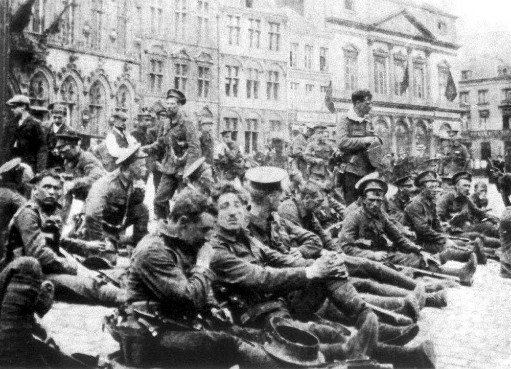 Британские войска в Монсе, 22 августа 1914 года.