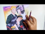 Speed Drawing - Naruto and Hinata [TRIBUTE NARUTO]