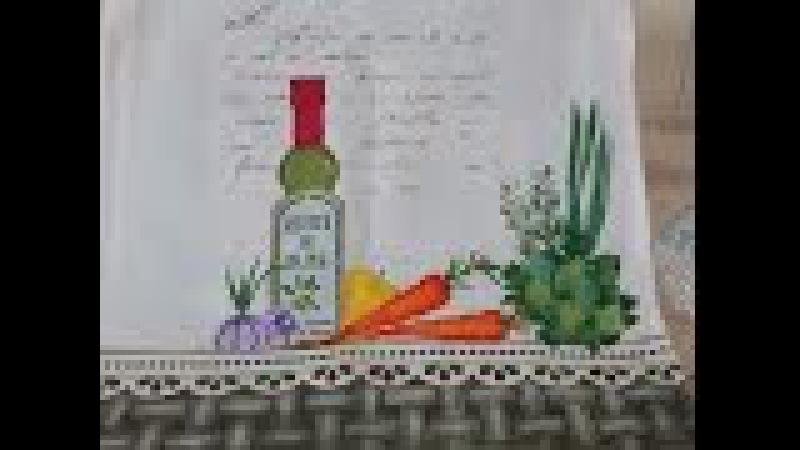PINTURA EM TECIDO COM ESTENCIL - Azeite Cenoura Alho e Salsa
