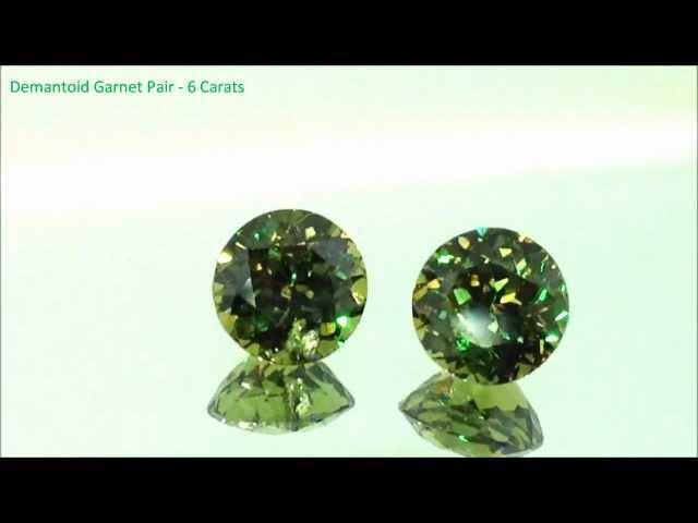 Natural Demantoid Garnet Round Pair - 6 Carats - by Gandhi Enterprises