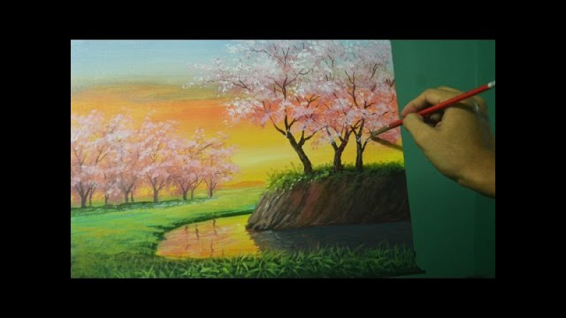 Acrylic Landscape Painting Lesson - Cherry Blossoms on Sunset by JMLisondra