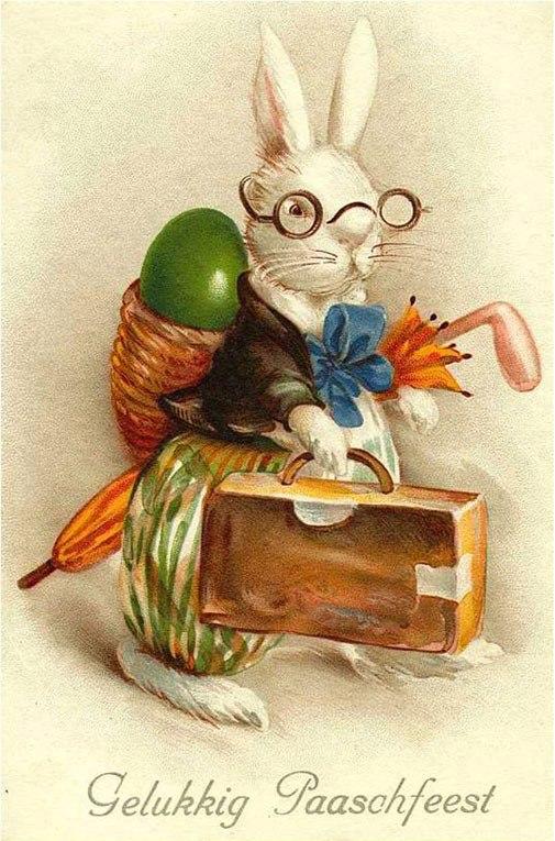Старинные открытки с зайцами, баннеры