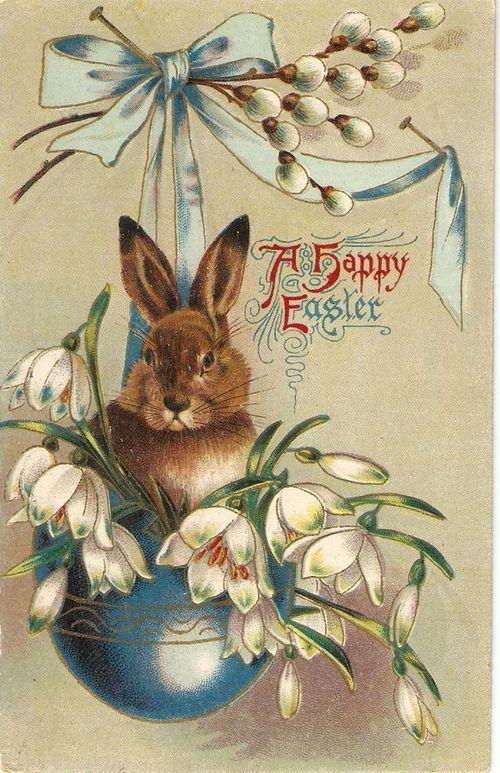 Открытка юбилей, открытка с пасхальными кроликами