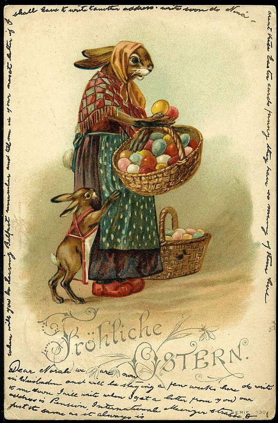 Старинные пасхальные открытки с кроликами, картинки вот