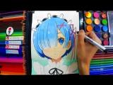 Speed Drawing Anime Re_ Zero Rem _ Рисую Аниме Re_ Жизнь Рем _