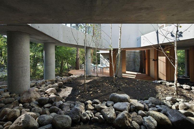 Интересная резиденция в хвойном лесу Японии  Архитектурная фирма