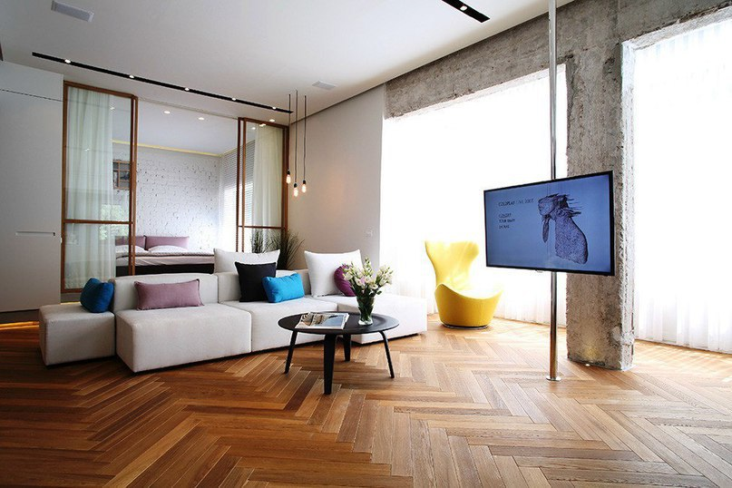 Современная квартира с элементами лофта  Проектная студия Dori-interior