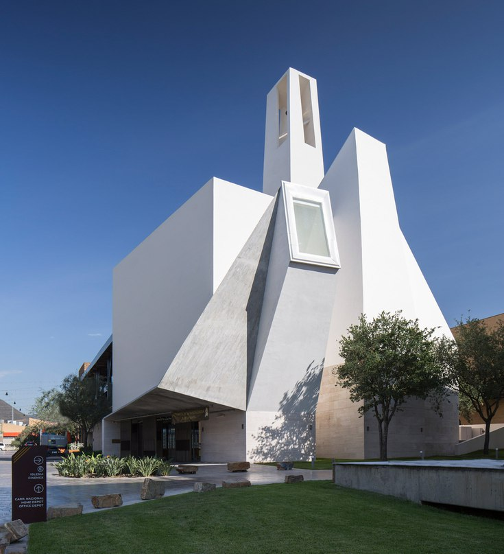 Crystalline church by Moneo Brock stands against