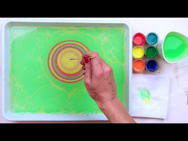 Как нарисовать бабочку в технике эбру от www.ebru-profi.ru