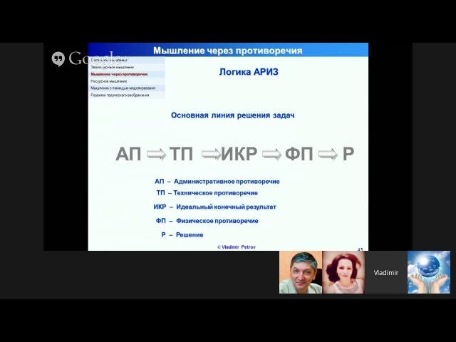 Вебинар Д Петрова Изобретательское мышление в рамках подготовки TRIZ Developers SUMMIT
