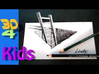 How to draw a 3D hole with ladder step by step / # 14