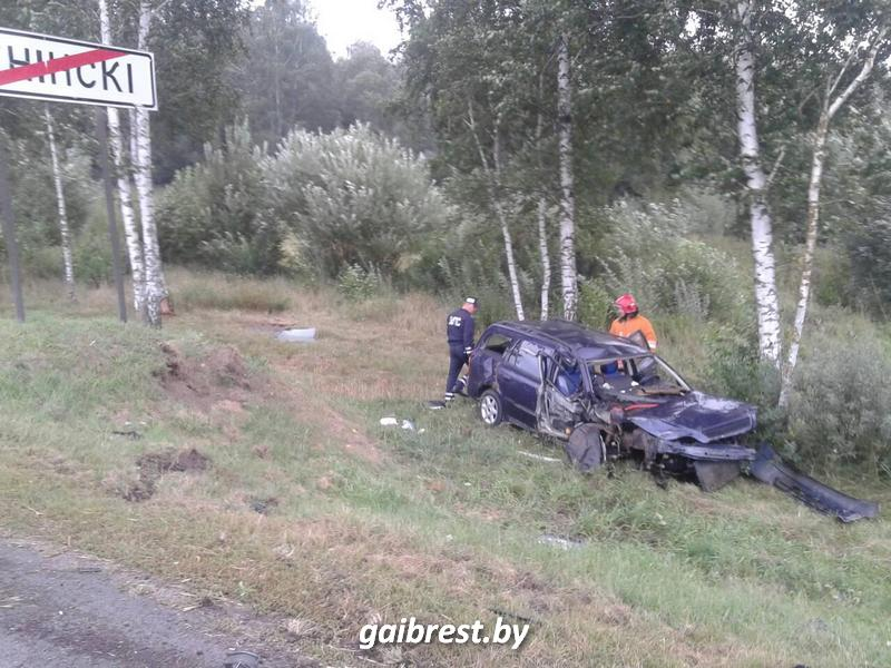 Женщина-водитель отвлеклась от управления, врезалась в опору и перевернулась
