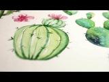 Drawing Cactus    Рисуем кактусы на приглашения