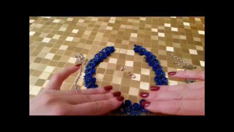Колье фриволите иглой Frivolité tatting needle tatting ЧАСТЬ 2