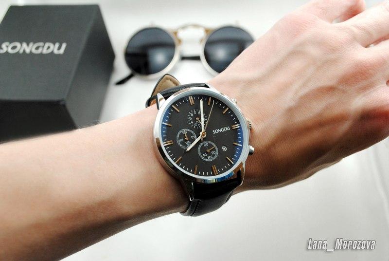 Часы мужские наручные кварцевые с кожаным ремешком Songdu