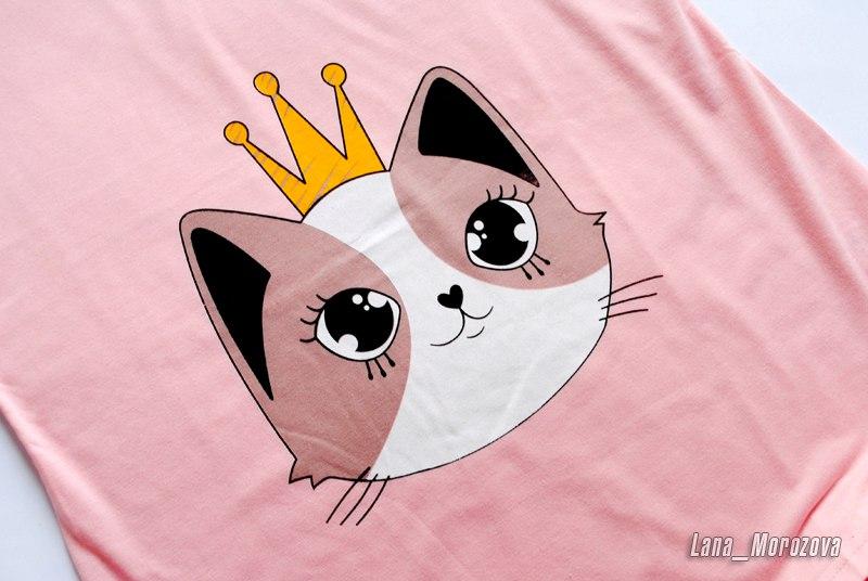 Пижамный комплект с шортами с милым кошачим принтом