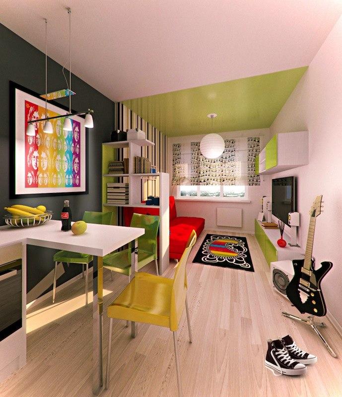 Проект комнаты 18-20 м в прямоугольной студии от застройщика O2 Development, Санкт-Петербург.