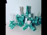 Свадебные бутылки шампанского, бокалы, свечи семейный очаг в мятном цвете