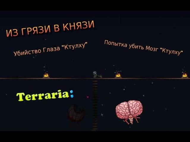ИЗ ГРЯЗИ В КНЯЗИ ~||~ Terraria 9 - Убийство Глаза Ктулху , Попытка убить Мозг Ктулху