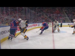 LOOK IT, P.K. Subban gets clipped in the head by a strafing Oilers elbow