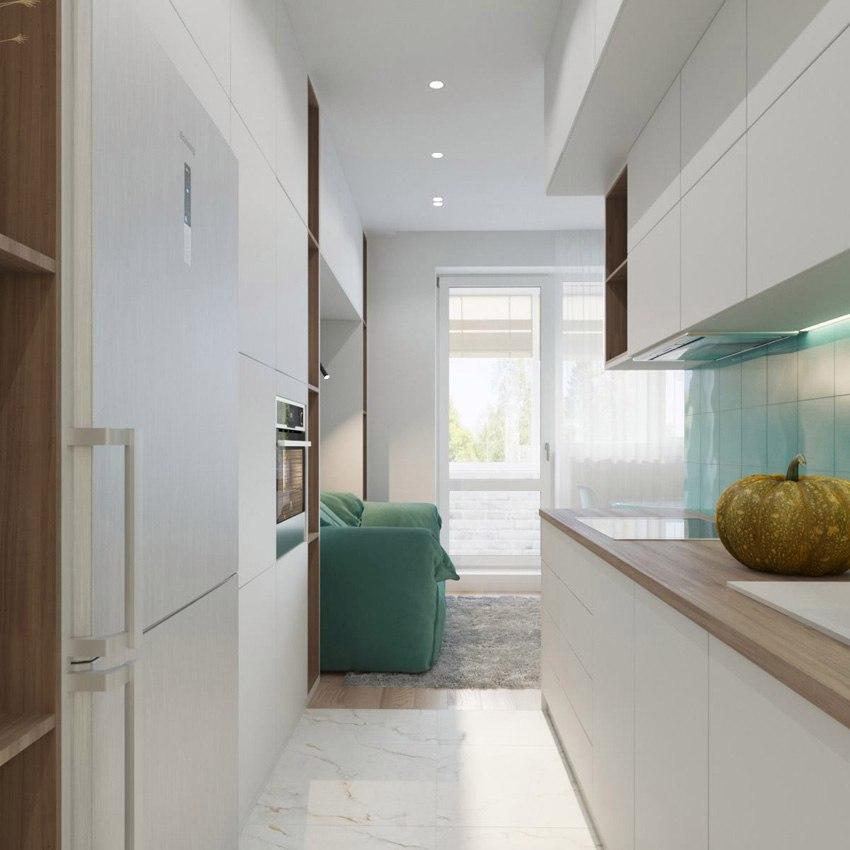 Проект студии 33 м с разворотом кухни.