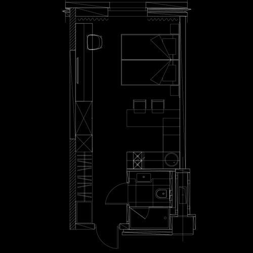 Проект для студий 26 м от ГК Пионер - застройщика апарт-комплекса YES, Санкт-Петербург.