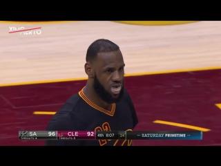 LeBron James Monster Baseline Dunk ¦ Spurs vs Cavaliers ¦ January 21, 2017 ¦ 2016-17 NBA Season