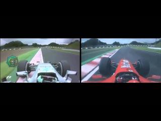 F1 2015 VS F1 2004 Nico Rosberg VS Michael Schumacher Onboard Suzuka Lap Comparison