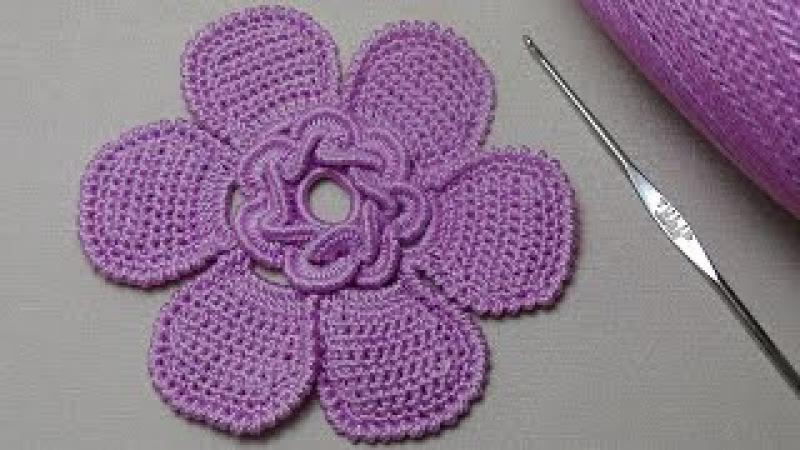 Вязание красивого ЦВЕТКА с серединкой из витых столбиков. Сrochet flower pattern