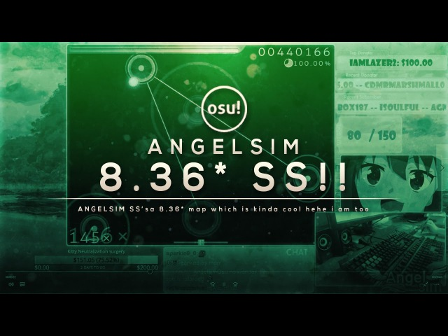 Osu! - Angelsim SSs a 8.36★ MAP! | Liveplay wChat!