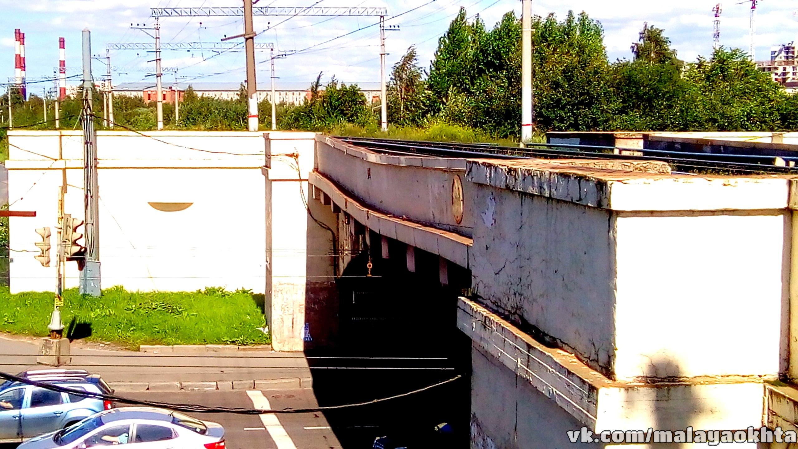 Ж/д путепровод над Новочеркасским проспектом. Источник: https://vk.com/malayaokhta