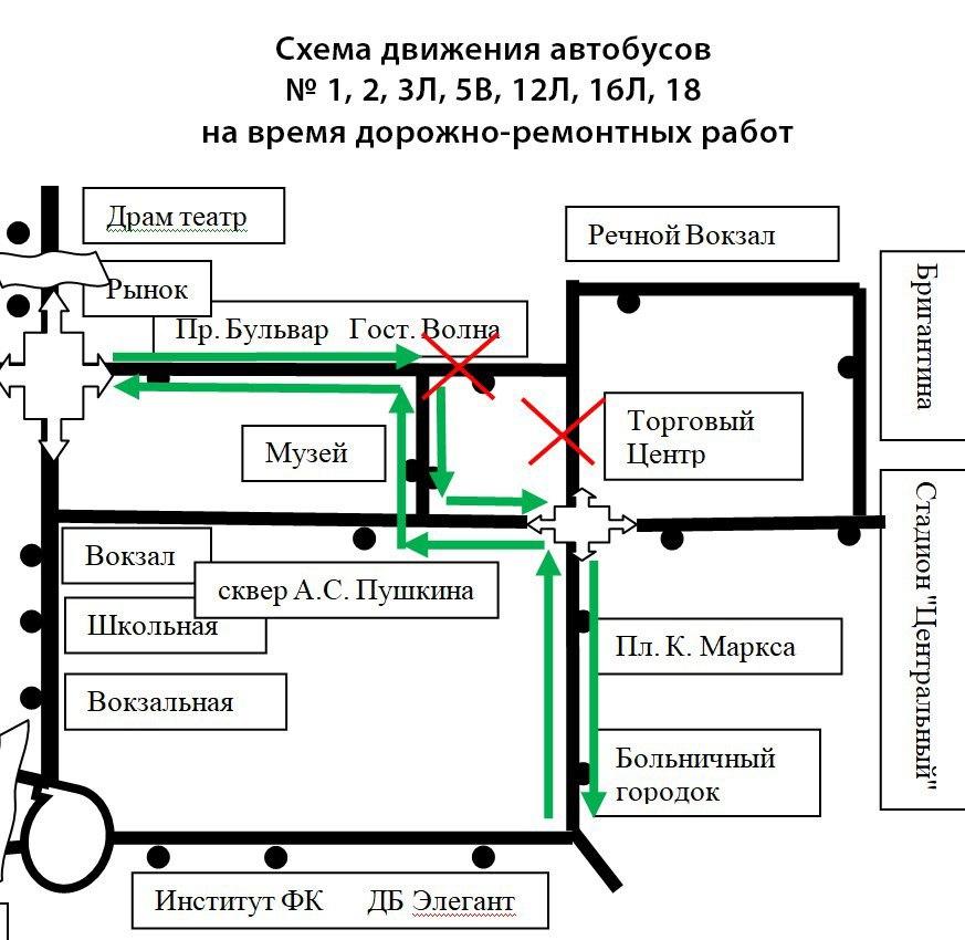Схема объезда при ремонте, Чайковский, 2017 год