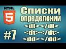Cписки определений HTML Теги dl dt dd Frontend разработка HTML5 для начинающих Урок 7