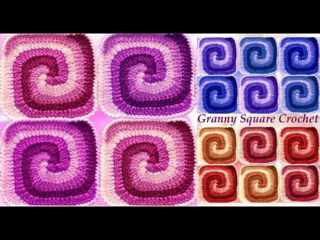 Como tejer con Gancho Crochet cuadrados de colores en punto remolino arcoíris tutorials