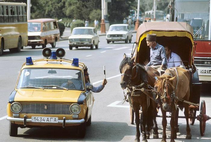 ГАИ на улице, Баку, 1987 год.