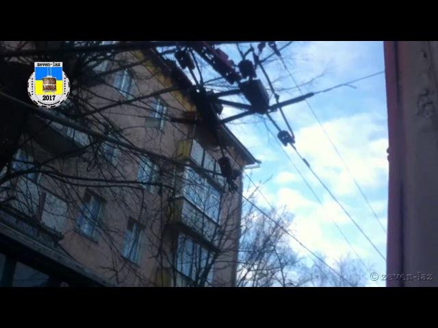 Черкасский троллейбус- Отрыв штанг 16.12.2016