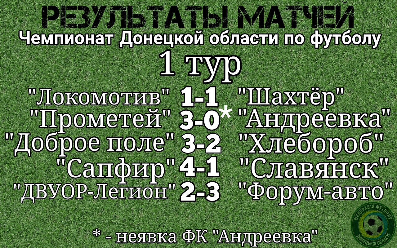 Результаты матчей 1 тура Чемпионата Донецкой области по футболу.