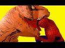Человек Паук и Эльза Холодное Сердце мультик - Тирекс Динозавр съел Эльзу Челове...