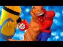 Замароженный Эльза и Человек Паук Тирекс нападает на Миньоны /w Паук против Дин ...