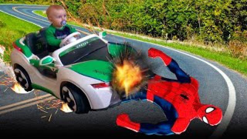Человек Паук и Вредные детки Bad Baby Spider-Men w/ попал в аварию Вредные детки Заморожен...