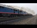 2ТЭ25К 0013 Пересвет с грузовым поездом на станции Волово